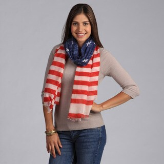 Saro Women's American Flag Design Scarf