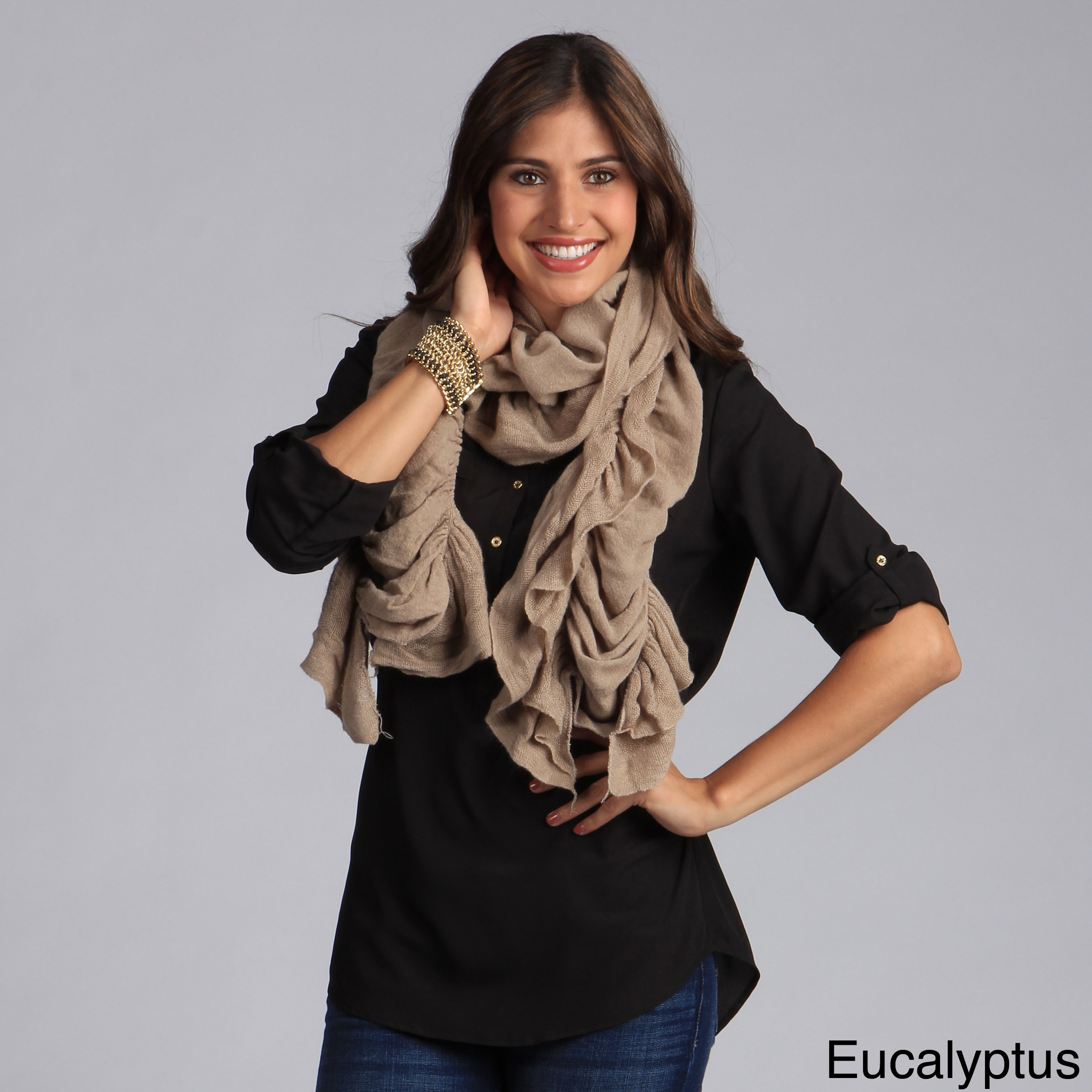 Saro Women's Ruffled Scarf (Grey), Size One Size Fits All...
