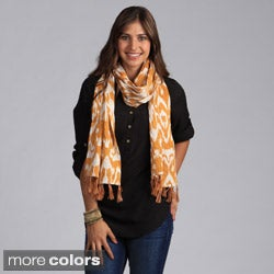 Saro Women's Ikat Shawl with Kantha Stitches