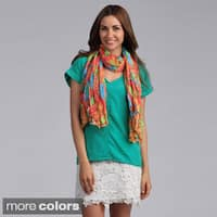 Saro Flower and Dot Print Scarf