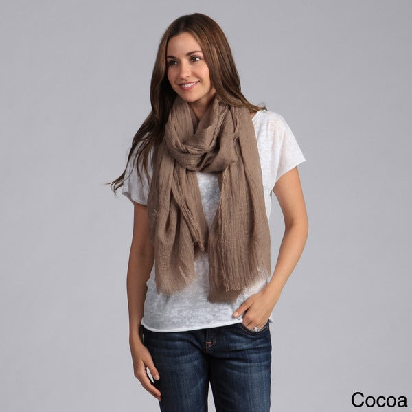 Saro Women's Solid Design Fringed Scarf. Opens flyout.