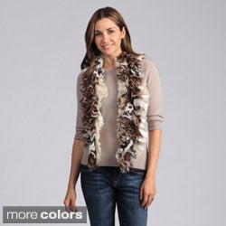 Saro Women's Tiger Design Ruffle Scarf