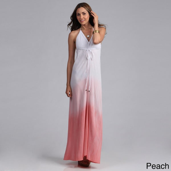 Elan Women's Ombre Dyed Maxi Halter Dress