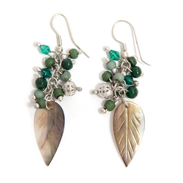 Handcrafted Glass Bead and MOP Silver Metal Earrings (India)