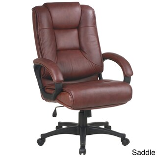 Office Star Products Work Smart Leather Chair (Option: Saddle Glove Soft Leather, Nylon Base Chair)