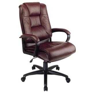 Office Star Work Smart Deluxe Executive Leather Chair with Padded Loop Arms