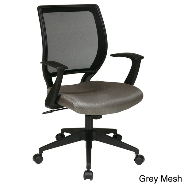 """Office Star Work Smart Screen Back and Mesh Seat Task Chair with """"T"""" Arms"""
