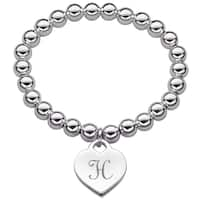 Silverplated Heart Initial Charm and Bead Stretch Bracelet