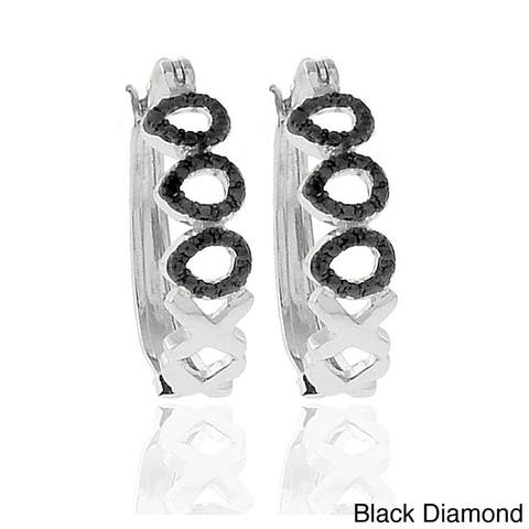 Finesque 18k Gold or Silver Overlay Diamond Accent Teardrop and 'X' Hoop Earrings