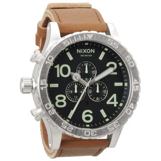 Nixon Men's '51-30' Stainless-Steel Leather-Strap Chronograph Watch|https://ak1.ostkcdn.com/images/products/7969805/Nixon-Mens-51-30-Stainless-Steel-Leather-Strap-Chronograph-Watch-P15340283.jpg?impolicy=medium