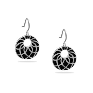 Gioelli Sterling Silver Black Enamel Dangle Earrings