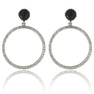 Dolce Giavonna Silver 1/10ct TDW Black Diamond and White Topaz Earrings