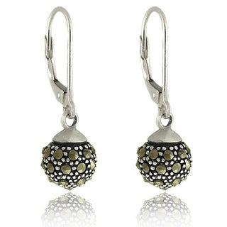 Dolce Giavonna Sterling Silver Marcasite Leverback Ball Earrings