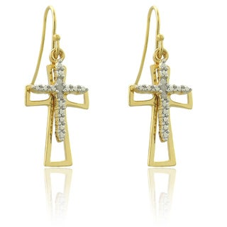 Finesque 18k Gold over Silver Diamond Accent Double Cross Earrings