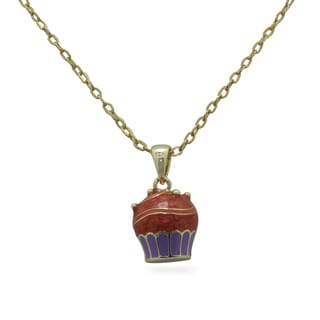 Junior Jewels 18k Gold Overlay Children's Enamel Cupcake Necklace