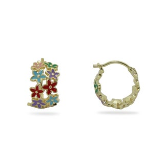 Junior Jewels Gold Overlay Children's Enamel Flowers Hoop Earrings