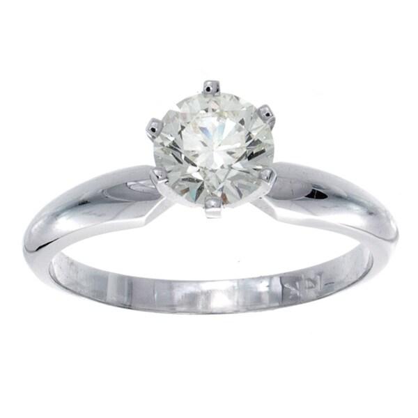 14k Gold Certified 7/8ct TDW 6-Prong Diamond Engagement Ring (J-K, VS1-VS2)