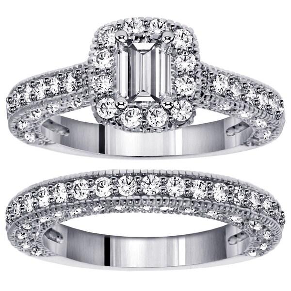14k White Gold 3ct TDW Emerald-cut Diamond Bridal Ring Set (F-G, SI1-SI2)