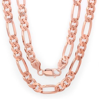 Sterling Essentials 14k Rose Gold over Silver 7.5mm Diamond-cut Figaro Chain (Option: 24 Inch)