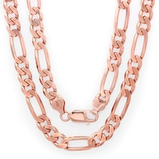 Sterling Silver Rose Gold Plated Italian 7.5mm Diamond-cut Figaro Chain (22-30 Inch) - Pink
