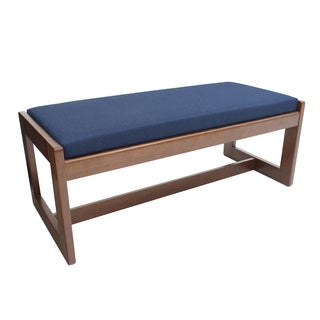 Double Seat Wood And Fabric Bench