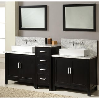 Direct Vanity 84-inch Horizon Ebony Double Vanity Sink Console