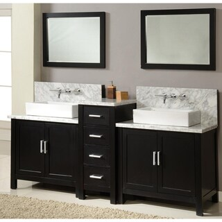 Direct Vanity 84-inch Horizon Ebony Double Vanity Sink Console