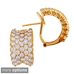 Sonia Bitton 14k Gold 4.5ct TDW Pave Diamond Hoop Earrings (G-H, SI1-SI2)