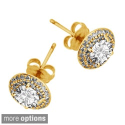 Sonia Bitton 14k Yellow Gold 1.5ct TDW Diamond Halo Stud Earrings (G-H, SI1-SI2)
