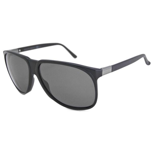 Gucci Men's GG1002 Black Polarized/ Aviator Sunglasses
