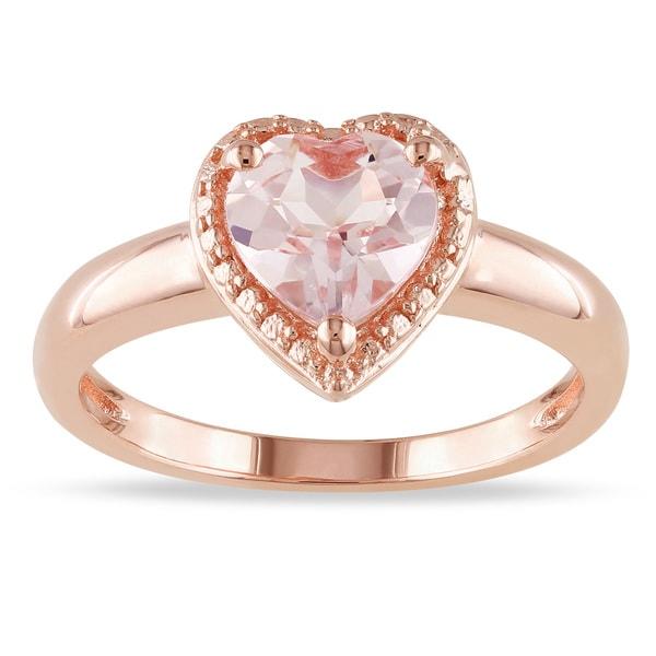 Miadora Rose-plated Silver Morganite Heart Ring
