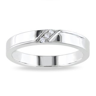 Miadora Sterling Silver Men's Diamond Accent 3-stone Wedding Band Ring