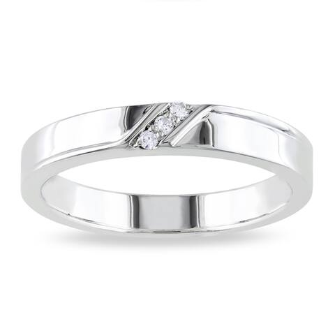 Miadora Sterling Silver Men's Diamond Accent 3-stone Wedding Band Ring