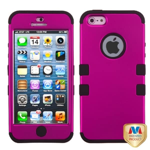 BasAcc Hot Pink/ Black TUFF Hybrid Case for Apple iPhone 5