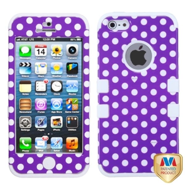 INSTEN Purple/ White Dots TUFF Hybrid Case Cover for Apple iPhone 5