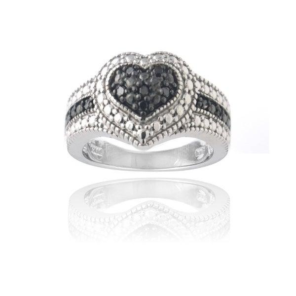 DB Designs Rhodium-plated 1/10ct TDW Black Diamond Heart Ring