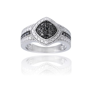 DB Designs Rhodium-plated 1/10ct TDW Black Diamond Diamond-shaped Ring
