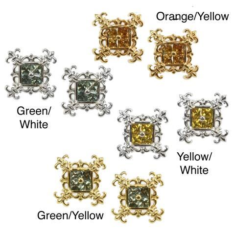 Dallas Prince Silver Green, Orange or Yellow Sapphire Earrings