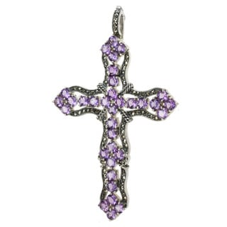 Dallas Prince Sterling Silver Amethyst and Marcasite Enhancer Pendant