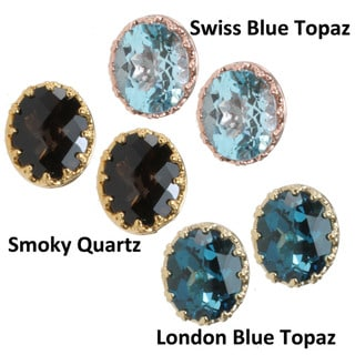 Dallas Prince Gold over Silver Blue Topaz or Smokey Quartz Earrings