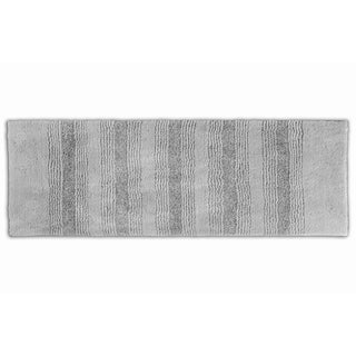 Somette Westport Stripe Platinum Grey 22 x 60 Washable Bath Runner Rug