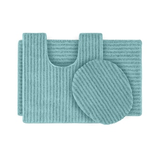 Somette Xavier Stripe Sea Foam Bath Rug Set of 3