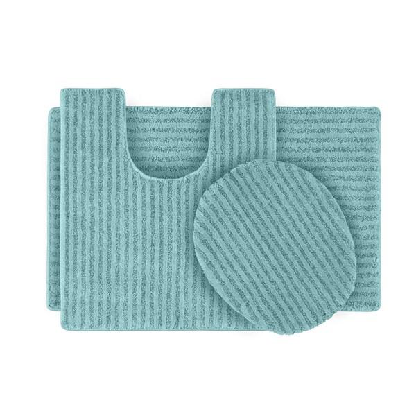 Somette Xavier Stripe Sea Foam Bath Rug Set of 3