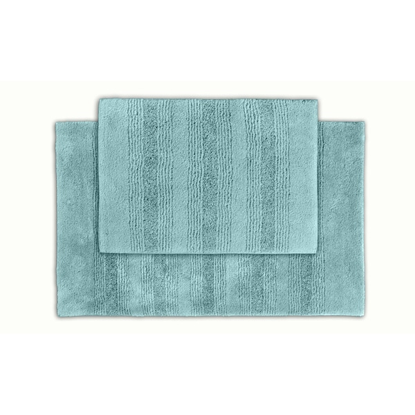 Somette Westport Stripe Sea Glass Washable 2-piece Bath Rug Set