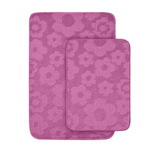 Somette Petals Pink Bath Rugs (Set of 2)