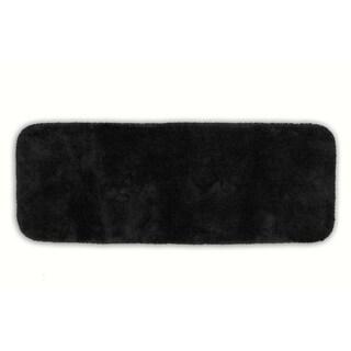 Somette Posh Plush Black Washable 22 x 60 Bath Runner Rug