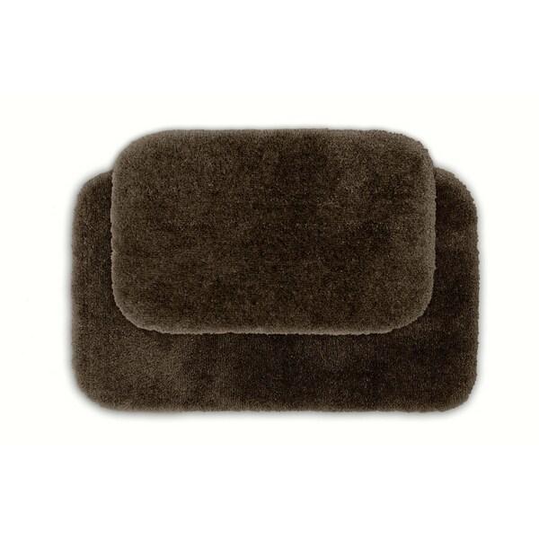 Somette Posh Plush Chocolate Washable Bath Rug (Set of 2)