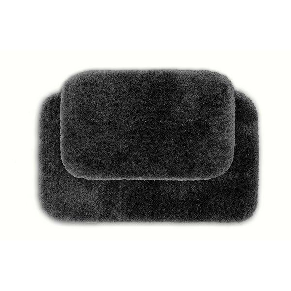 Somette Posh Plush Dark Grey Washable 2-piece Bath Rug Set