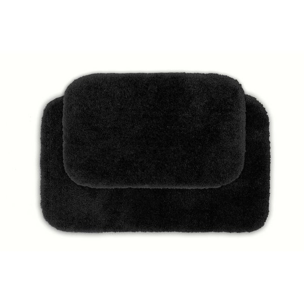 Somette Posh Plush Black Washable 2-piece Bath Rug Set