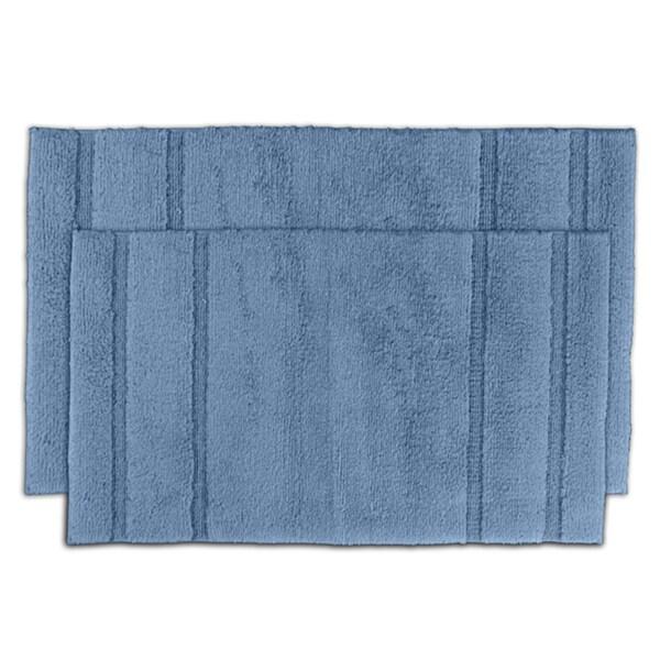 Somette Tranquility Cotton Sky Blue Bath Mat 2-piece Set